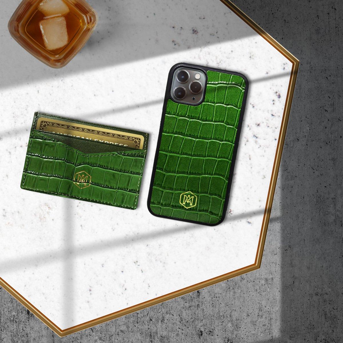 Cover Iphone 11 Pro Max in pelle di Pitone Verde - Andrea Morante ®️