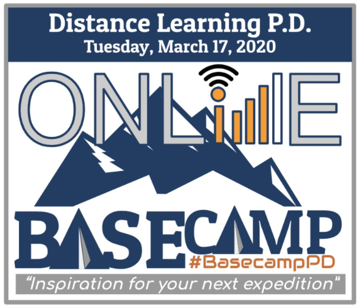 """Join us for #BasecampPD Online - Free & Open to all edus. 100% online & designed to support your transition to distance learning! """"By educators; for educators"""" Let's connect & get through this together! 3/17 Agenda: https://t.co/adKFx7U1gw Register Here: https://t.co/URUezVBxtl https://t.co/3FUcZV08PH"""