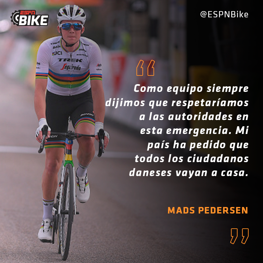 #ESPNBike Mads #Pedersen, campeón del mundo de ruta, se bajó en el último día de la #ParisNice ya que desde Dinamarca pidieron que todas las personas vuelvan al país y se queden en cuarentena por el #coronavirus.