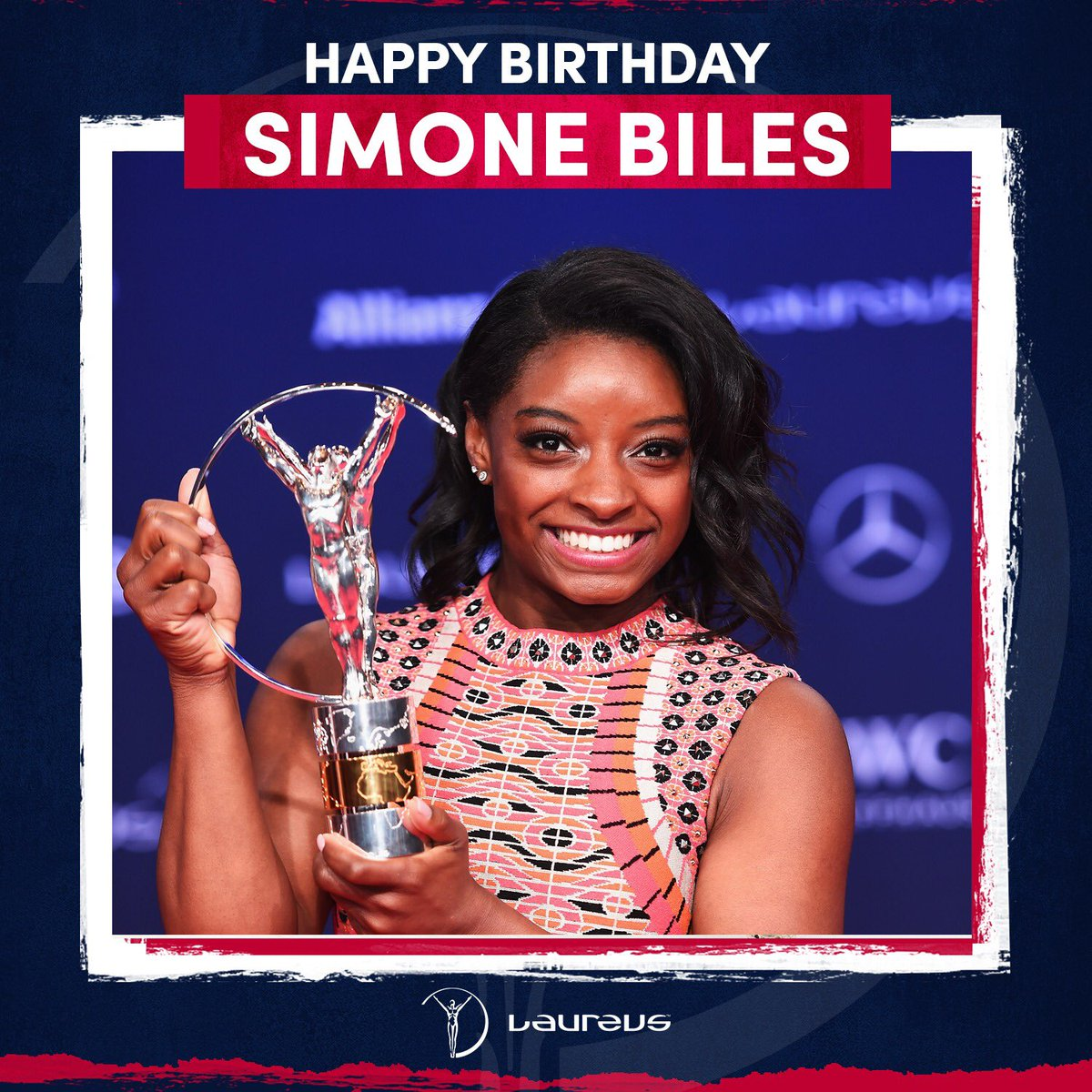 Happy 23rd Birthday to three-time Laureus World Sportswoman of the Year, @Simone_Biles! 🎂  The most decorated gymnast in World Championship history. What an athlete! 🏆   #Laureus20 #SportUnitesUs