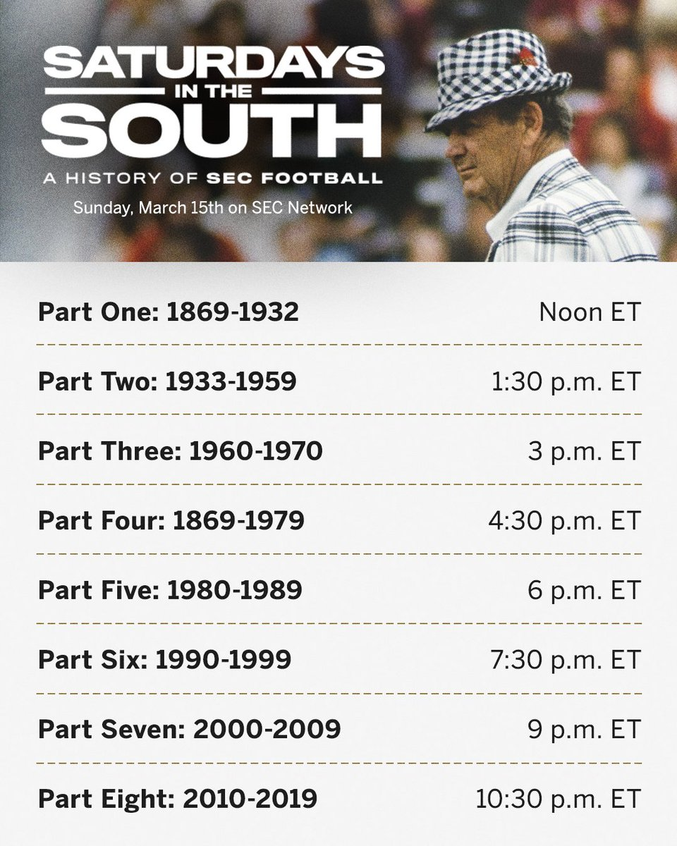 Tomorrow, we tell the story of SEC football. The Saturdays in the South marathon begins at Noon ET.