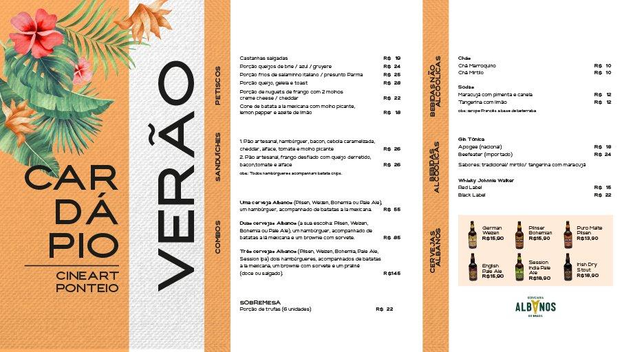 O verão está acabando, mas você ainda pode aproveitar o Cardápio de Verão do Cineart Ponteio, desenvolvido em parceria com a cervejaria Albanos.   São diversas opções para tornar o seu momento no cinema ainda mais especial! ☀😍 https://t.co/Eh1PQ3bpsE