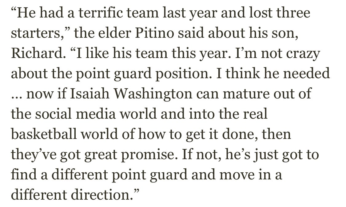 Here's what Rick Pitino had to say about Isaiah Washington when he played for Richard. twitter.com/DalyDoseOfHoop…
