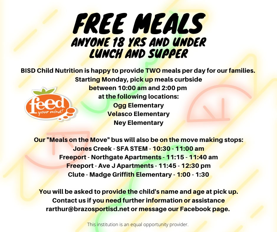 BISD to Provide Free Lunch and Supper for students 18 and under. For more info, go to: bit.ly/2ILwkDN