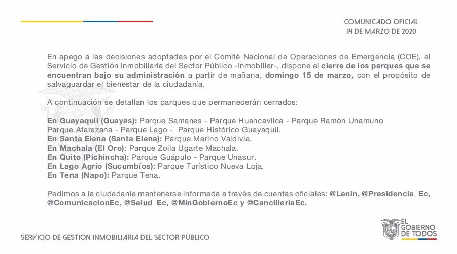 COMUNICADO   Informamos a la ciudadanía que los parques administrados por Inmobiliar desde el 15 de marzo permanecerán CERRADOS. #ActivadosPorLaSalud https://t.co/dRTKkxIIoZ