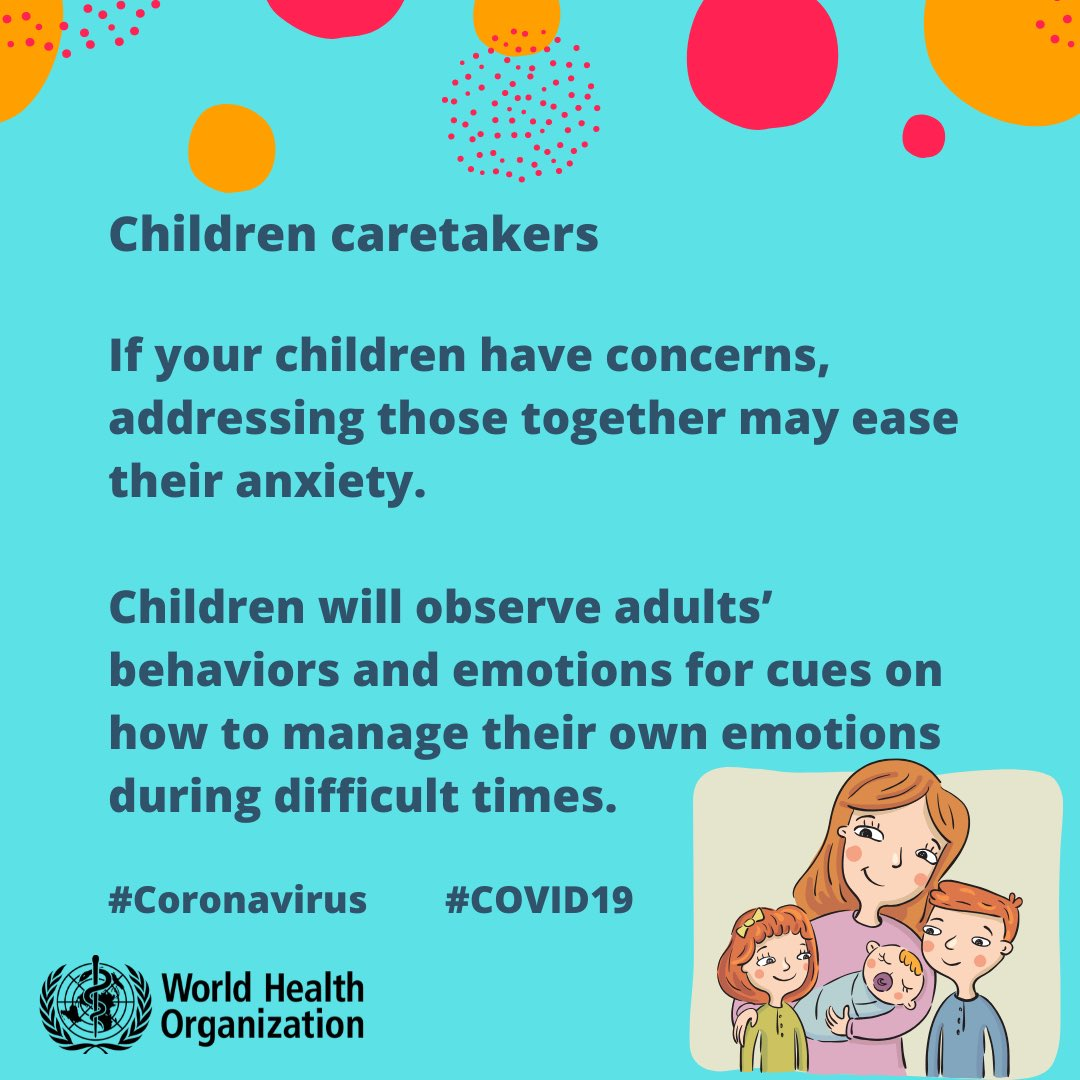 This thread from @WHO has many helpful #MentalHealth tips and considerations, including how parents and caretakers can help ease children's anxiety during #COVID19