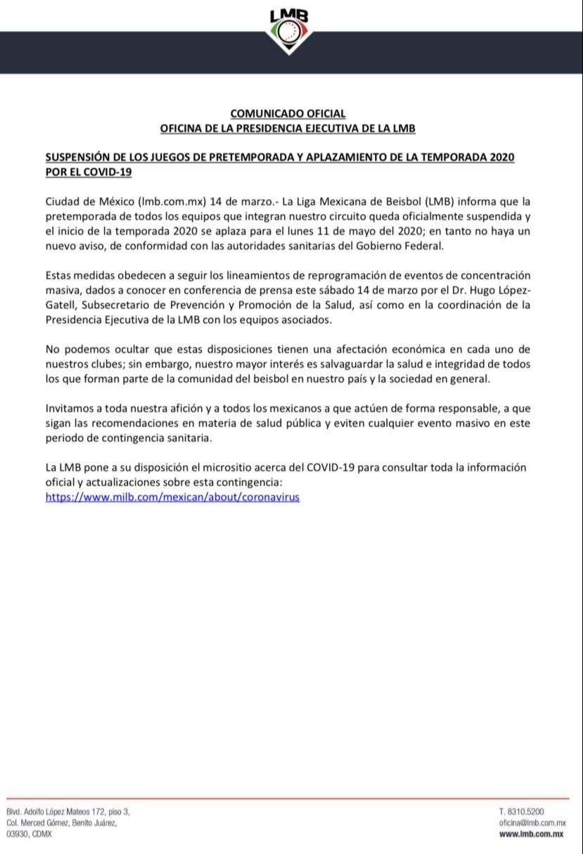 El comunicado oficial de LMB sobre el aplazamiento de la temporada debido al coronavirus.