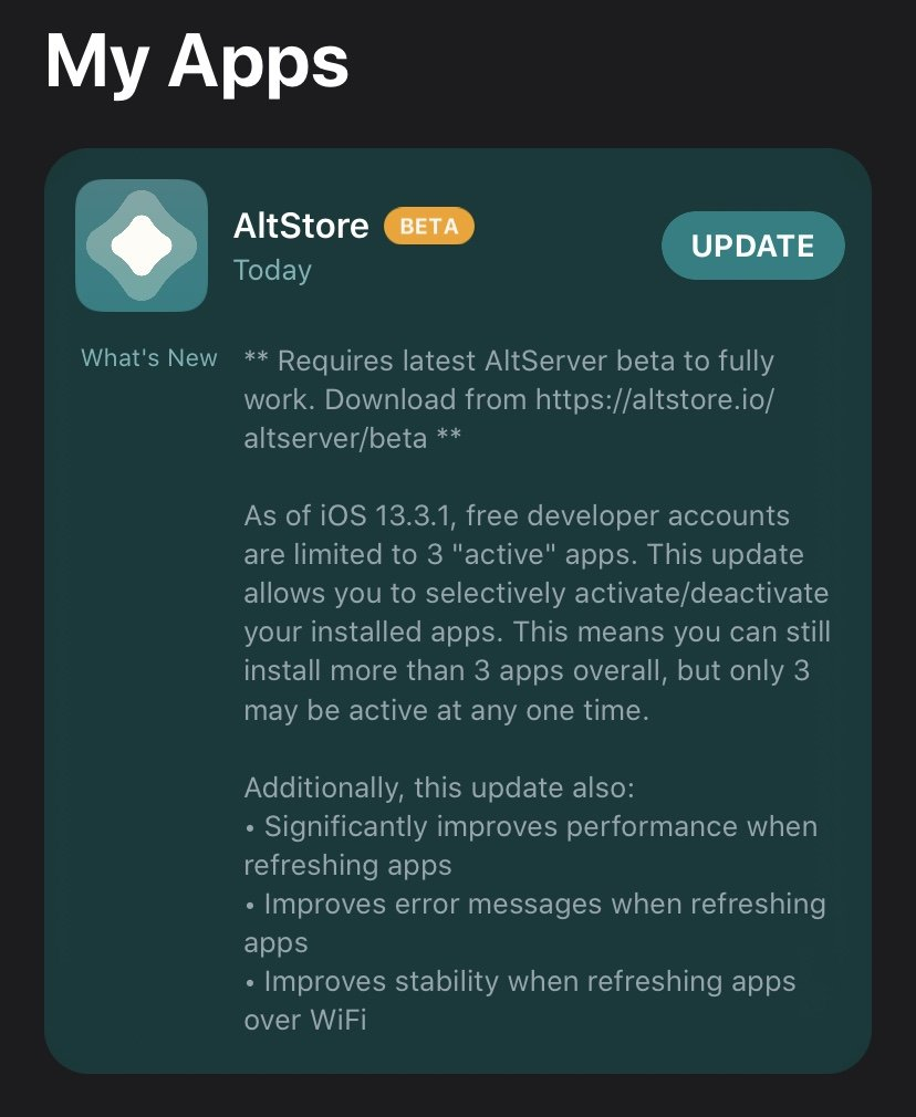 Resigns and installs any app with your Apple ID Installs apps over WiFi using AltServer Refreshes apps periodically in the background to prevent them from expiring (when on same WiFi as AltServer) Handles app updates directly through AltStore Requirements Xcode 11 iOS 12.2+ (AltStore) macOS 10.14.4+ (AltServer) Swift 5+