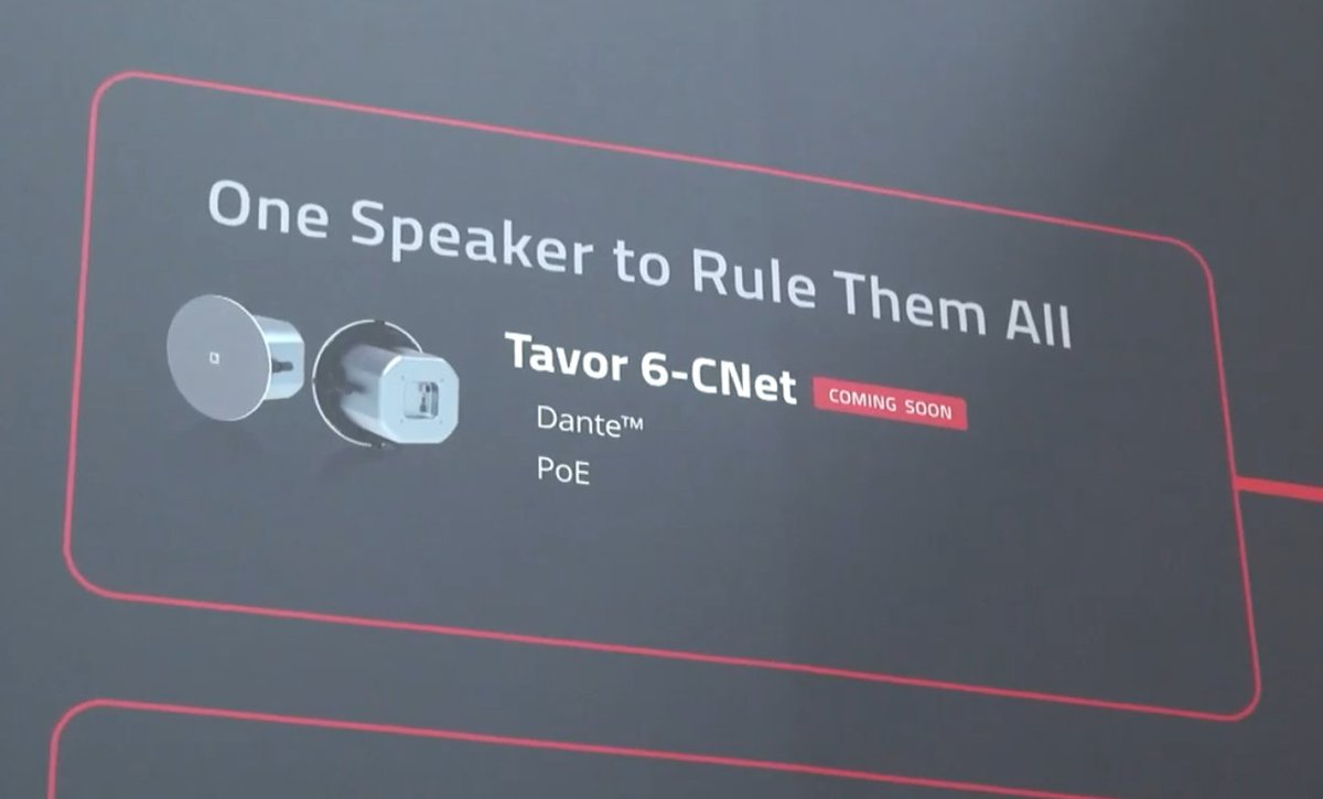 COMING SOON: One speaker to rule them all - Did you see our new Tavor 6-CNet in-ceiling POE Dante speaker at #ISE2020? Toolless, one-click installation, a sleek & stylish bezel-less design & a lot of power! Here's a sneak-peek #avtweeps #proav #avinstall  https://www.youtube-nocookie.com/embed/Kx3y5kDPWr8?rel=0&showinfo=0&autoplay=1&cc_load_policy=1&hl=en…pic.twitter.com/tqmzLYEV4V
