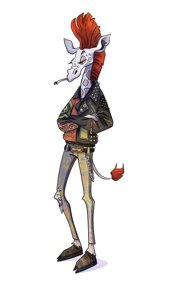 Drawing animal characters is so soothing. In these stressful times I allow myself to just draw whatever I want. So here´s a punk giraffe.  #characterdesign #animalillustration #punkgiraffe #illustrationpic.twitter.com/pTFWSyn6hg