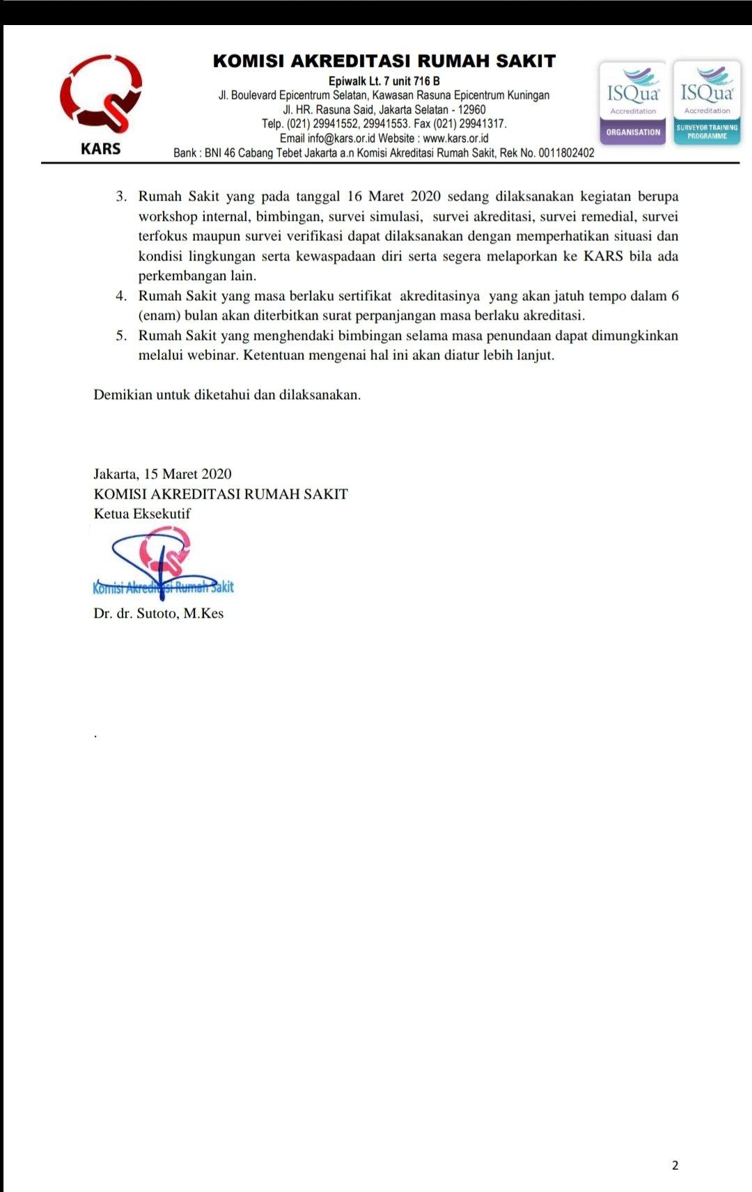 Ig Anjarisme On Twitter Info Khusus Bagi Rumahsakit Akreditasi Rs Ditunda Hari Ini 15 Maret 2020 Komisi Akreditasi Rumah Sakit Kars Mengeluarkan Surat Edaran Nomor 408 Se Kars Iii 2020 Tentang Penundaan Kegiatan Komisi Akreditasi Rumah