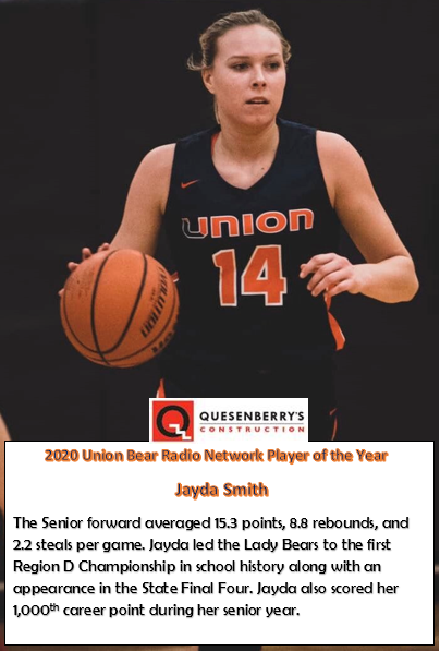 Congratulations to our First Ever Girl's Union Bear Network Player of the Year, Jayda Smith!!!
