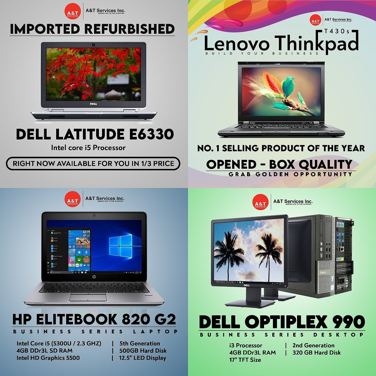 "A&T Services Inc. on Twitter: ""Looking Imported Refurbished laptop Or  Desktop In Box Open Condition We have many options In Top Brands >APPLE  >LENOVO >DELL >HP FOR ORDER CALL 7827547379 #laptops #refurbished #"