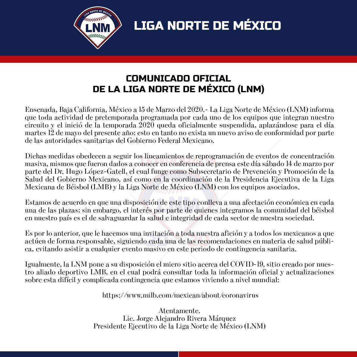 Comunicado oficial de Liga Norte de México sobre el aplazamiento de su temporada 2020.