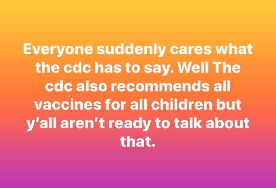 Image result for everyone suddenly cares what the cdc has to say but you all aren't ready to talk about that