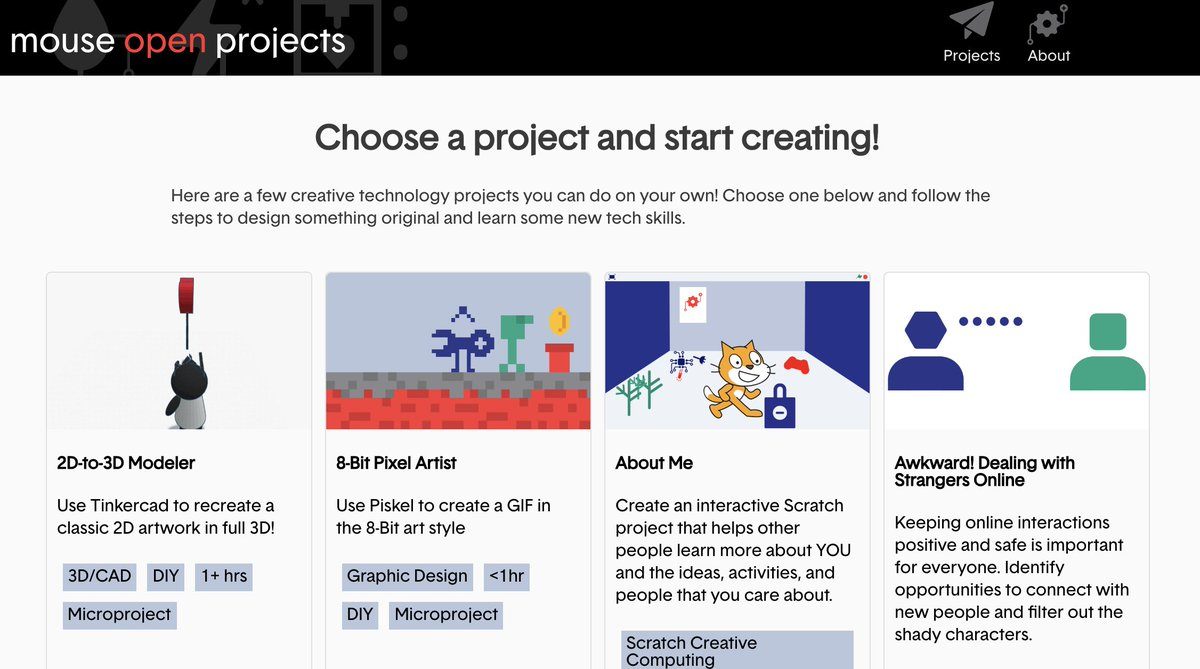 Mouse is committed to helping as much as we can.  In addition to our platform Mouse Create, we're introducing Mouse Open Projects, a resource for students to learn #STEM & #computerscience at home w/o an account.  Visit https://t.co/GLJRORSBEA to learn more  #nycpublicschools https://t.co/vqqDTGdxuY