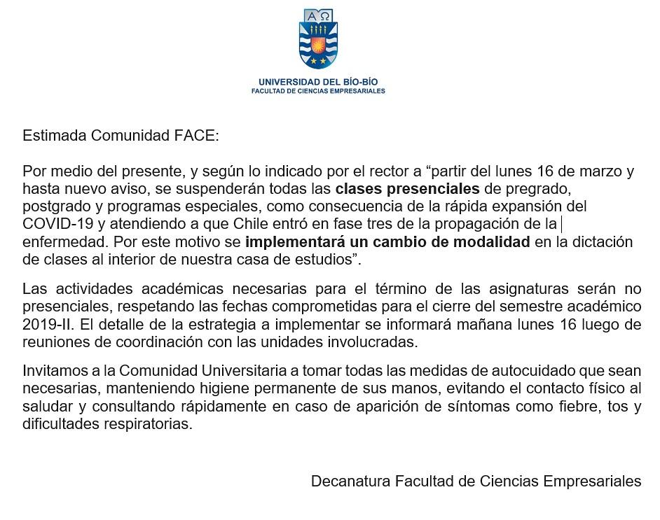 Comunicado Decanatura FACE. #ComunidadFACEUBB https://t.co/ffDhoAOF77