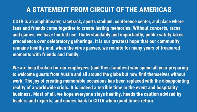 Statement from the Circuit of the Americas