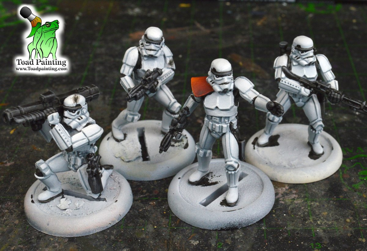 #WIP of next project, Imperial Storm Troopers from #starwarslegion! Had to use my favorite trick on a few of these minis, any kind of imperfection with the model just add battle damage to cover it up! Works every time!  #minipainting #miniaturepainting #StarWars  #Warmongers https://t.co/4yHQwePz22