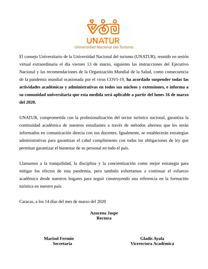 Yo Me Quedo En Casa Unatur Venezuela se une a las medidas para mitigación de la pandemia por el COVID?19