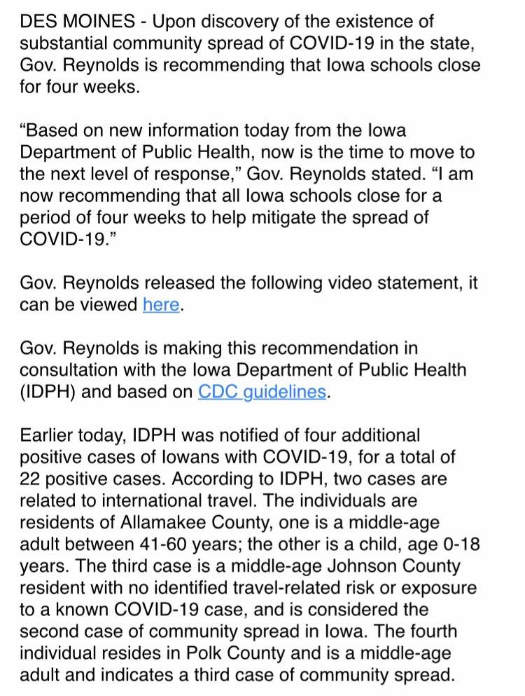 More Covid-29 cases in Iowa