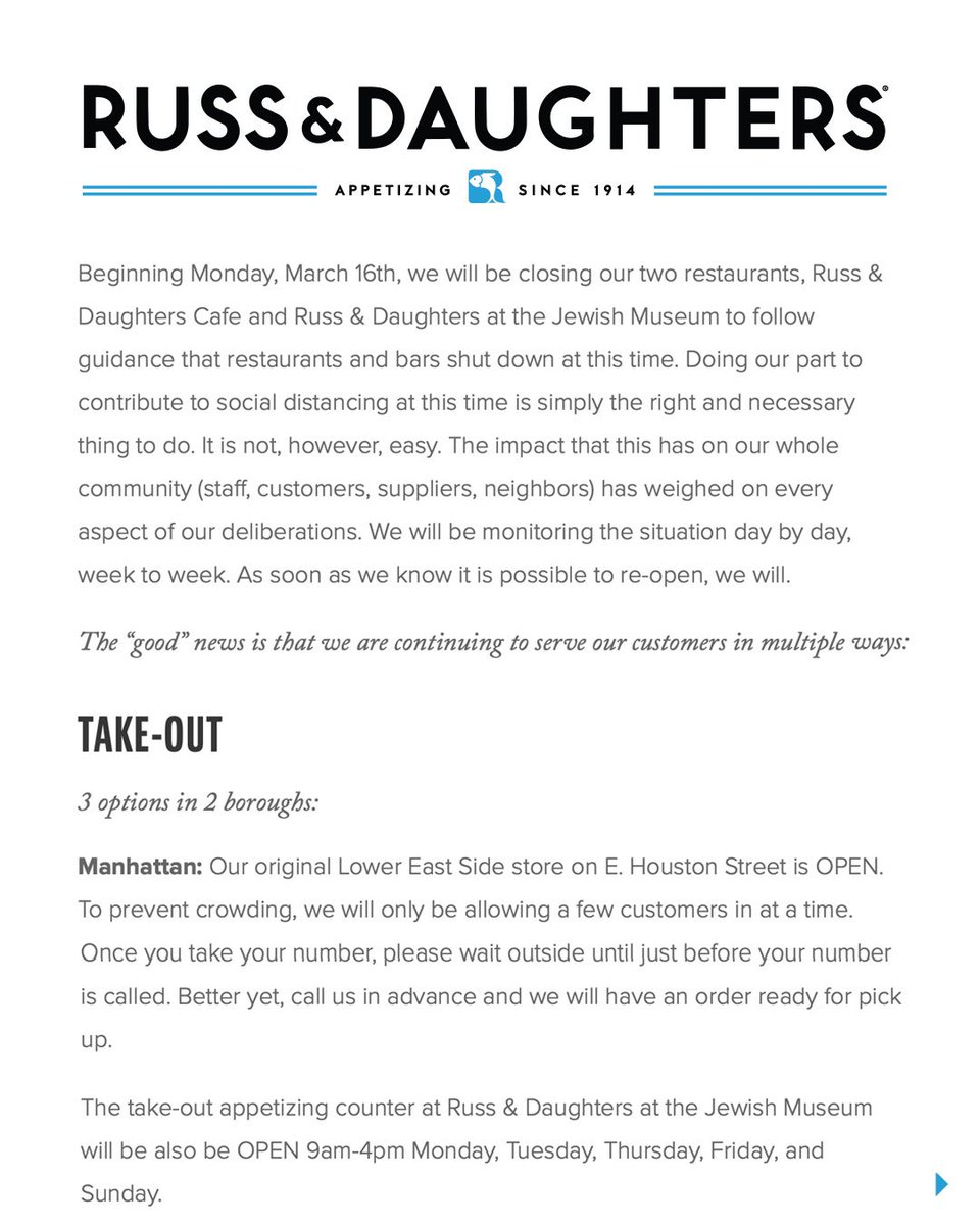 A message from Josh and Niki Russ, and Russ & Daughters. russanddaughters.com/info/