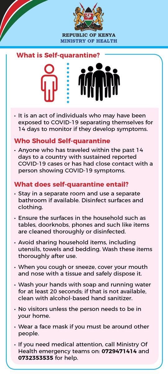 Coronavirus #COVID19 Self- quarantine rule. Things you can do to protect yourself & your community #covid19kenya #StayHomeSaveLives @KNH_hospital @WHOKenya @UNICEFKenya @KenyaRedCross @KEMRI_Kenya @MTRHofficial @SpokespersonGoK @CDCKenya @WorldBankKenya @PDUDelivery @Amref_Kenya https://t.co/zsxW1vP22B