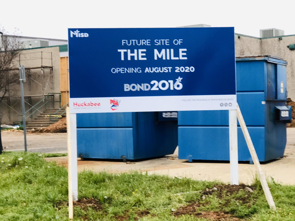 Progress continues at The MILE! We have official signage on site and are on track to open August 2020! #MISDproud