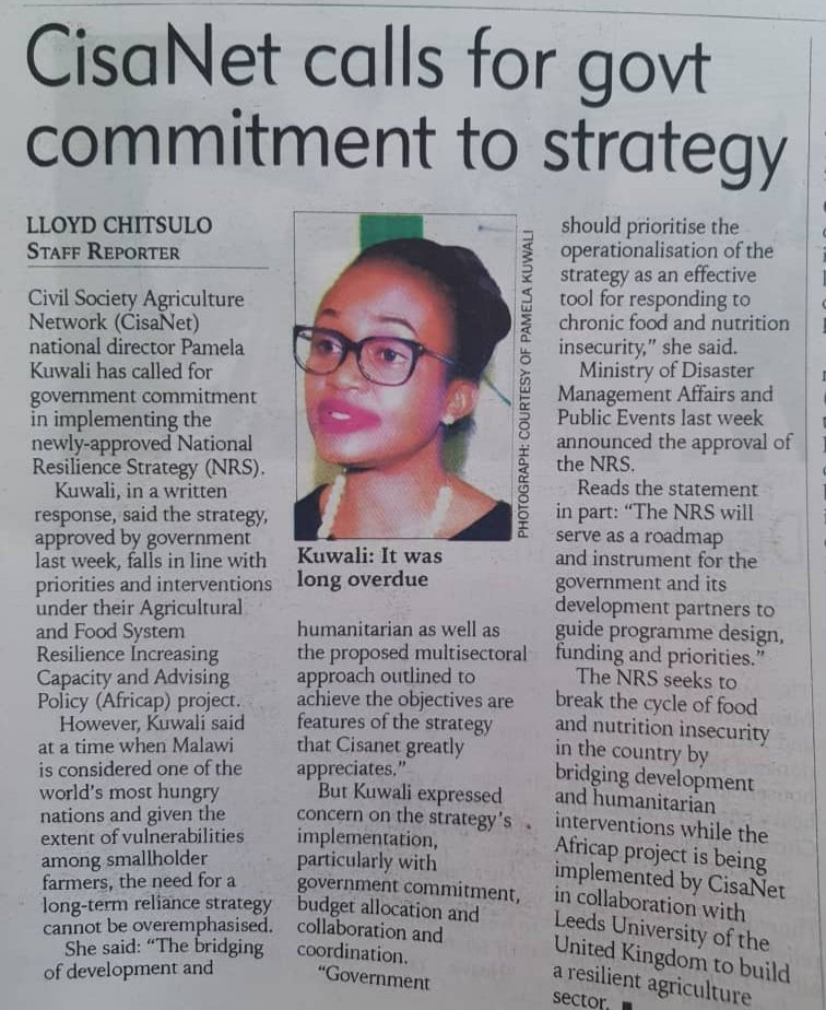 National director of #AFRICAP lead #Malawi partner @CisanetMalawi comments on importance of implementing newly-approved National #Resilience Strategy & connects to our programme objectives in #policyengagement. #climatechange #agriculture #foodsecurity
