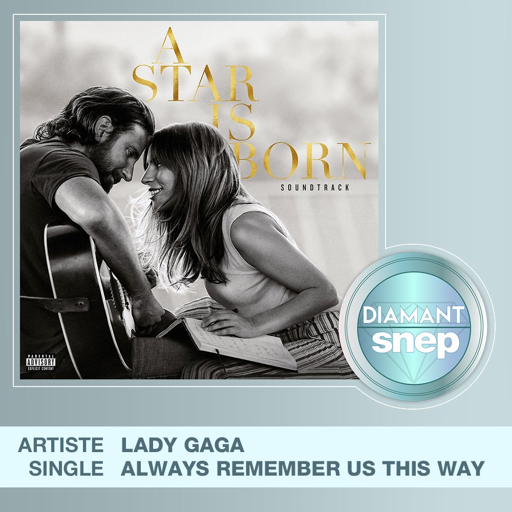 Always Remember Us This Way is now certified Diamond Single (50M streams) in France.