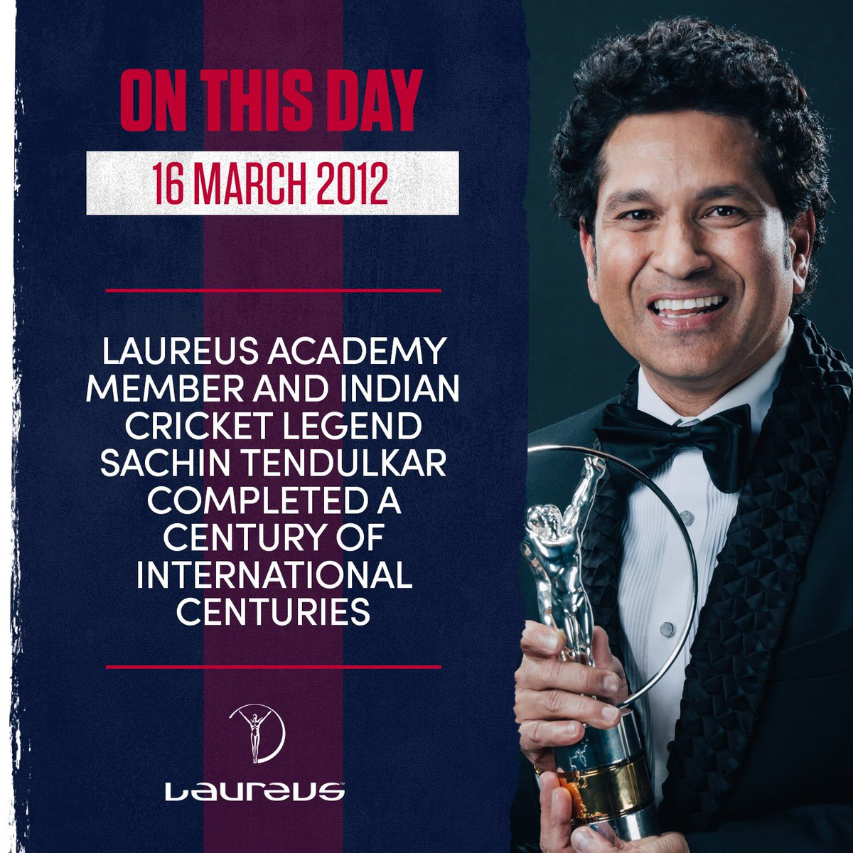 🏏 💯 x 💯 🏏  📅 #OnThisDay in 2012, Laureus Academy member @sachin_rt hit his 100th international century.  Legendary 🔥  #Laureus #SportUnitesUs