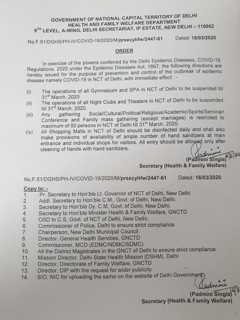 Gymnasium, SPA, Night clubs, Theaters suspended till 31st March. All gatherings except marriages is restricted to maximum 50 persons.