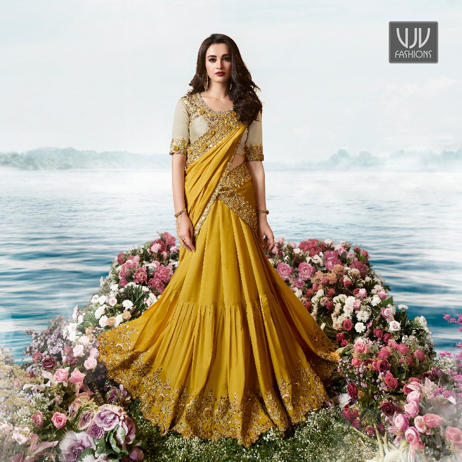 Buy Now @ http://bit.ly/2TLpnsk  . Wonderful Mustard Silk Net Designer Lehenga Style Saree . Fabric - Net, Silk . Product No  VJV-SULA6205 . #saree #sarees #designersaree #weddingsaree #bridalsaree #silksaree #banarasisarees #netsaree #ethnicsaree #partywearsaree pic.twitter.com/2EvCWWwo8W