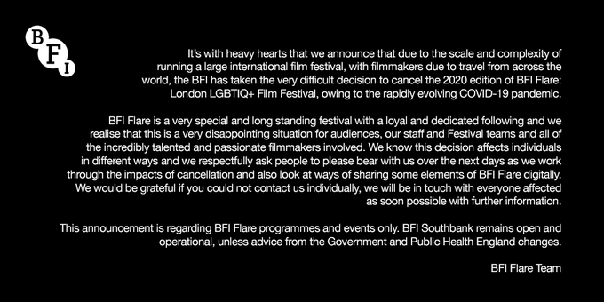 BFI Flare 2020 has been cancelled