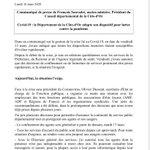 Le Département de la Côte-d'Or adapte son dispositif pour lutter contre la pandémie de Covid-19 à partir d'aujourd'hui, lundi 16 mars 2020. Retrouvez mon communiqué de presse ci-après :