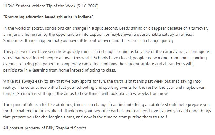 #IHSAA Student-Athlete Tip of the Week (March 16, 2020)