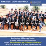 Image for the Tweet beginning: Nims Institute of Pharmacy Students