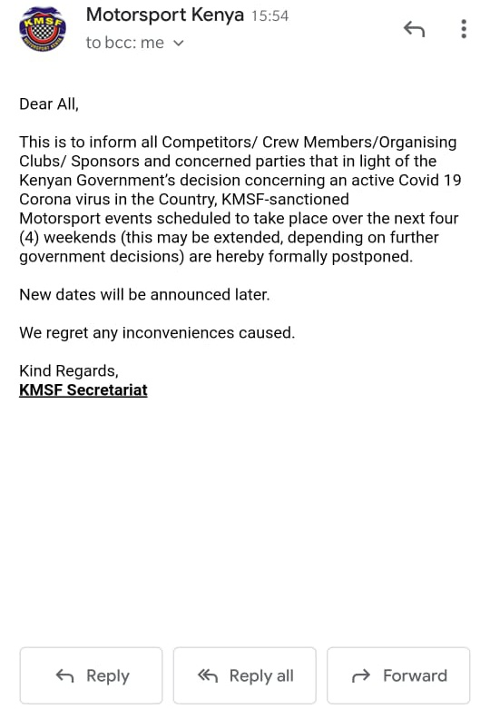 Another hard hit to Motorsport as @motorsportkenya postpones all upcoming events to new dates yet to be communicated due to Corona virus outbreak. @RallyinAfrika @KiwiWRCfan @RallySportMag @Karlip1 @OpensTightens @planetemarcus @RallyingUK #coronaviruskenya #CODVID19kenya