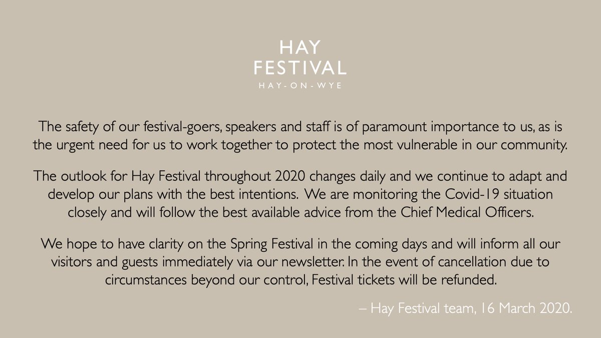 An update on #HayFestival2020. More to follow soon...