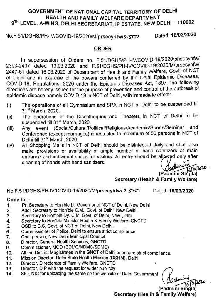 Amended order on closure of Gymnasium, SPA, Discotheque and events