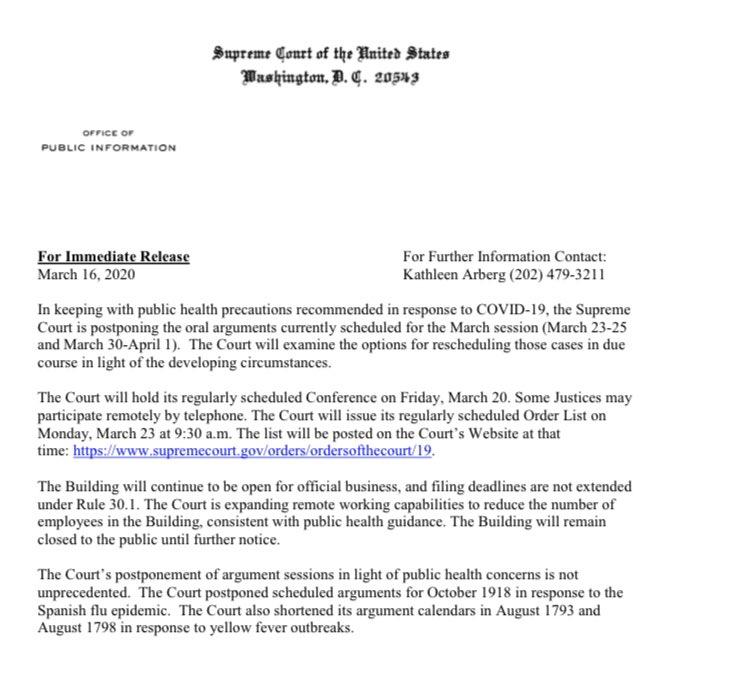 BREAKING: Supreme Court postpones arguments in its March sitting