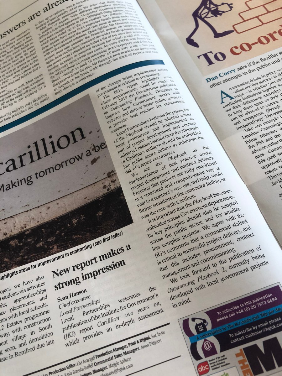 "#READ: ""Local Partnerships welcomes the publication of the Institute for Government (@instituteforgov) report 'Carillion: two years on' ... an in-depth assessment of the changes being implemented across government in relation to contracting""  @LP_SeanHanson's letter to @themjcouk"