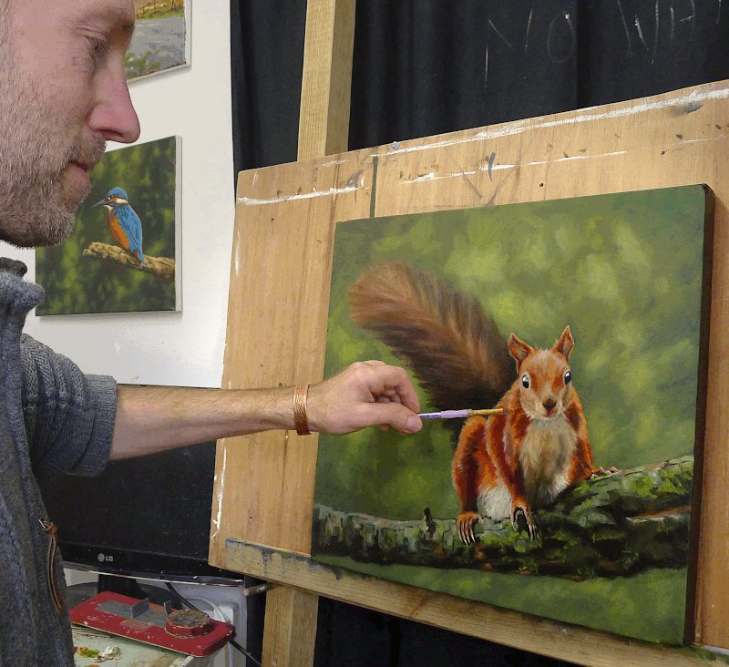 On the easel this afternoon: 16x16inch, oil. Inspired by a recent trip to Anglesey in North Wales #redsquirrel