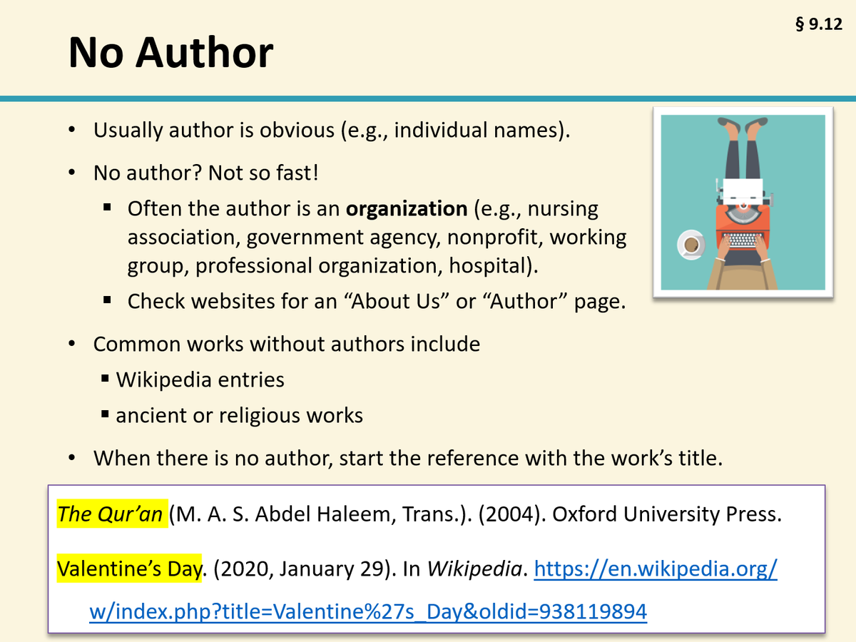 Apa Style On Twitter For An Apastyle Reference To A Webpage Although There May Seem Be No Individual Author The I Very Often Company Or Organization That Created In Text Citation Website With 7th Edition
