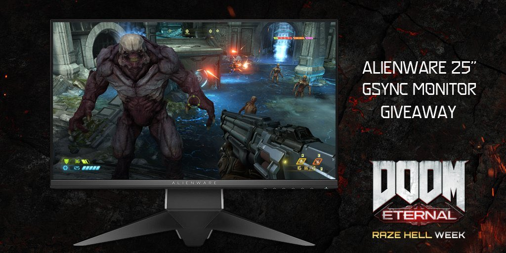"🤘 DOOM Eternal RAZE HELL WEEK @Alienware 25"" Gaming Monitor giveaway is upon us.🤘  Follow and RT to enter. #DOOM   Rules: https://t.co/7xJ3xDqwHX https://t.co/Gogh4FcRoO"