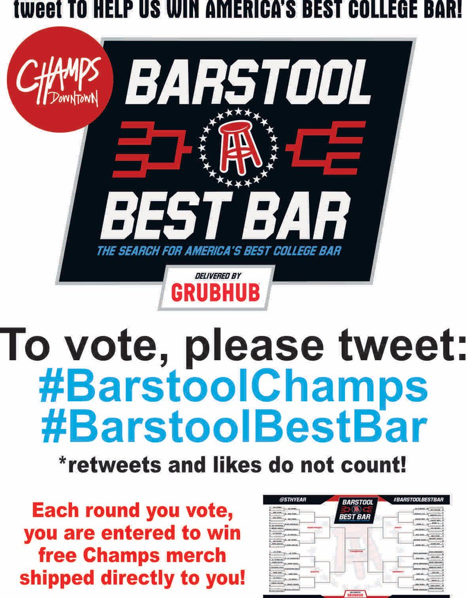 Champs Downtown On Twitter Round 2 Is Live Champspennstate Barstoolbestbar Barstoolchamps Every Vote Is Entered To Win Free Champs Merch Shipped Direct To Winners Psubarstool Champsvseverybody Statevseverybody Https T Co Uslxocuqp9