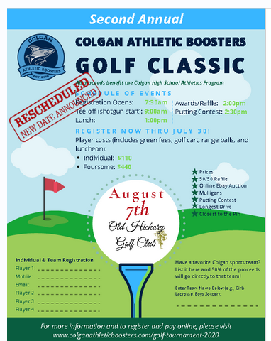 Colgan Sharks Athletic Boosters On Twitter The 2nd Annual Colgan Athletic Boosters Golf Classic New Date August 7 2020 Due To Current Events The Colgan Golf Classic Is Rescheduled To Friday August