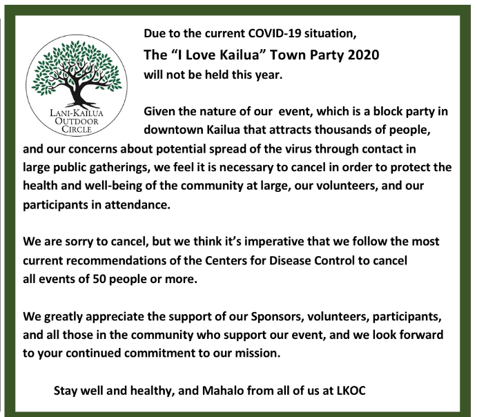 """The """"I Love Kailua"""" Town Party, which was scheduled for April 26, 2020, is cancelled. https://t.co/PTb5Jq7C52 https://t.co/mY2Dh4h7C7"""