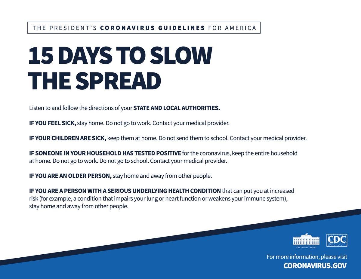 President @realDonaldTrump's Coronavirus Guidelines for America: