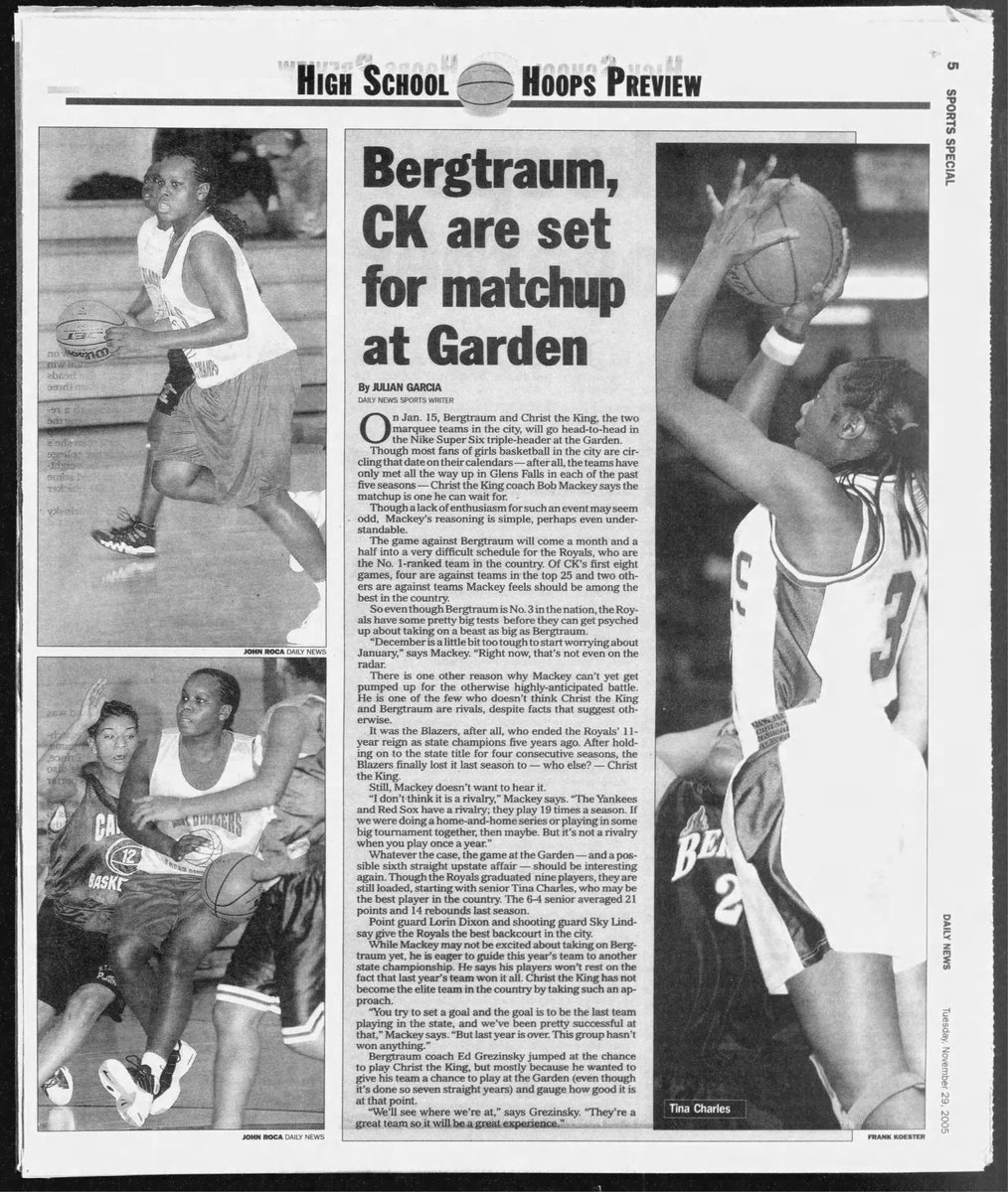 #Flashback Nov. 29th, 2005. The hoopla behind the upcoming matchup at @TheGarden in Jan. 2006 between @ctkwbball and Murry Bergtraum, which had future @wnba pros, such as @Piphdagreat10 and @tinacharles31. https://t.co/83pDb0NLpY